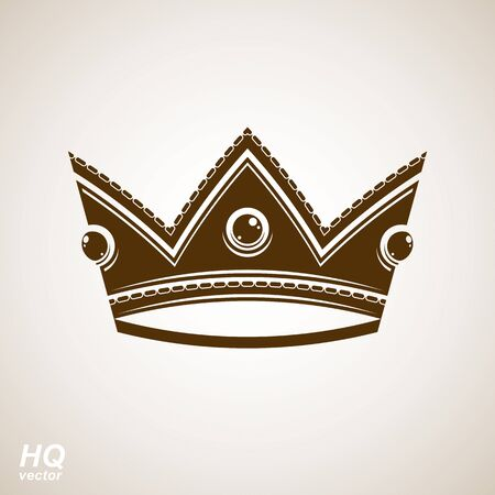 Royal design element, regal icon. Vector majestic crown, luxury stylized coronet illustration. King and queen regalia – imperial eps8 symbol. Illustration