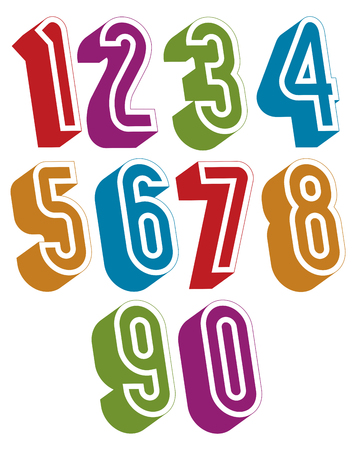 numerals: 3d numbers set made with round shapes, colorful numerals for advertising and web design. Illustration