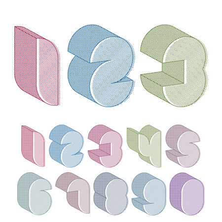 numerals: 3d futuristic numbers set with lines textures, colorful numerals for advertising and web design.