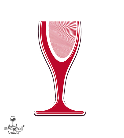Beautiful vector sophisticated wine goblet, stylish alcohol theme illustration. Artistic wineglass, romantic rendezvous idea. Lifestyle graphic design element. Illustration