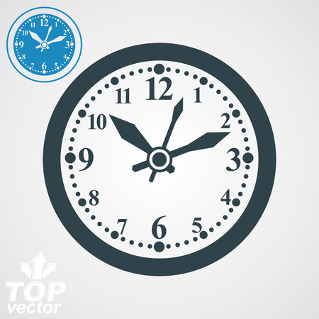 clockwise: Elegant vector wall clock with stylized clockwise, additional version included. Business time idea eps 8 high quality vector illustration. Time management conceptual symbol. Web design element.
