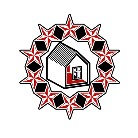 stylized design: Solidarity idea vector icon, simple house surrounded with festive stars. Stylized design element, union theme. Vettoriali