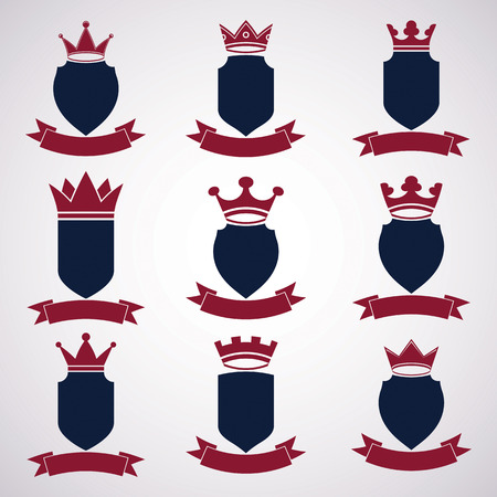 coronet: Collection of empire design elements. Heraldic royal coronet illustration - imperial striped decorative coat of arms. Set of luxury vector shields with king red crown and undulate festive ribbon. Illustration
