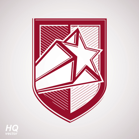 Vector military shield with pentagonal comet star, protection heraldic sheriff blazon. Ussr communistic conceptual symbol. Forces graphical coat of arms. Soviet Union theme.