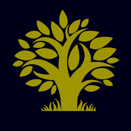 genealogy: Art vector illustration of tree with green leaves, spring season, can be used as symbol on ecology theme.