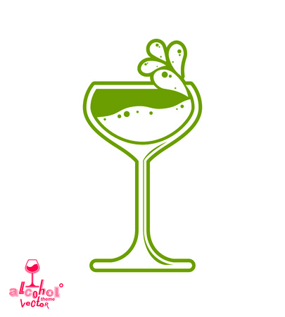 revelry: Simple vector cocktail glass with splash, alcohol idea graphic illustration. Stylized artistic goblet, romantic rendezvous object. Creative drink symbol.