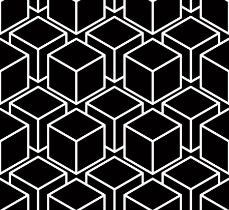 Regular contrast endless pattern with intertwine three-dimensional figures, continuous illusory geometric background. Illustration