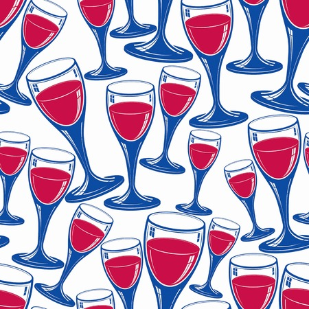 revelry: Sophisticated wine goblets continuous vector backdrop, stylish alcohol theme pattern. Classic wineglasses, romantic rendezvous idea. Illustration