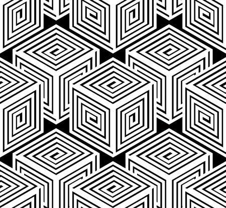 illusory: Monochrome illusory abstract geometric seamless pattern with 3d geometric figures. Vector black and white striped backdrop. Illustration