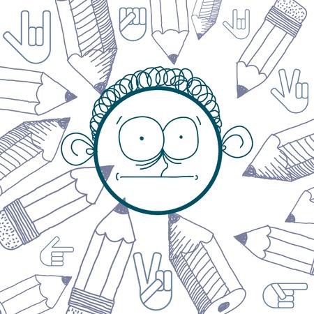 temperamento: Vector hand drawn cartoon surprised boy. Education theme graphic design elements isolated. Social conversation idea drawing.