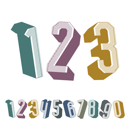 numerals: 3d geometric numbers set, colorful numerals for advertising and web design. Illustration