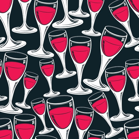 wine background: Sophisticated wine goblets continuous vector backdrop, stylish alcohol theme pattern. Classic wineglasses, romantic rendezvous idea. Illustration