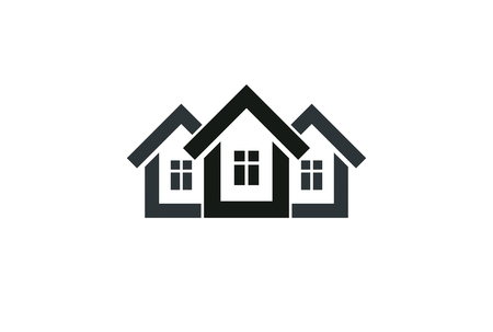 homely: Abstract simple country houses vector illustration, homes image. Touristic and real estate idea,three cottages front view. Real estate business or property developer theme.