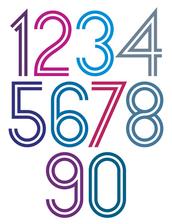 Poster rounded big colorful numbers with double stripes on white background.