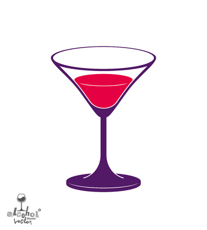 revelry: Vector half full martini glass, alcohol and entertainment theme illustration. Party lifestyle graphic goblet isolated.