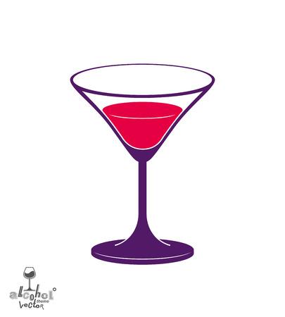 copa martini: Vector vaso medio lleno de martini, el alcohol y la ilustraci�n tema de entretenimiento. el estilo de vida del partido aislado cubilete gr�fico.