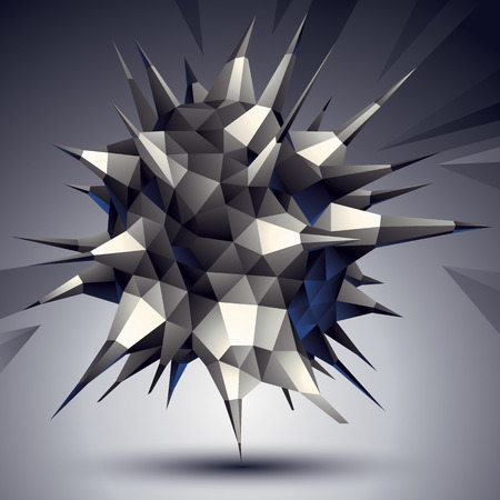 Complicated abstract grayscale 3D shape, vector digital object. Technology theme. Illustration