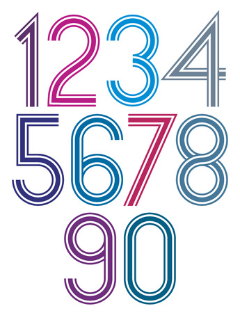 triple: Rounded big colorful numbers with triple stripes on white background. Illustration