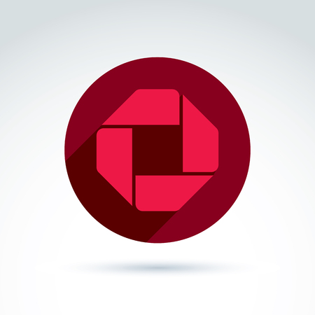 corporative: Bright composite corporate element created from separate geometric parts. Vector abstract emblem placed in red circle. Illustration