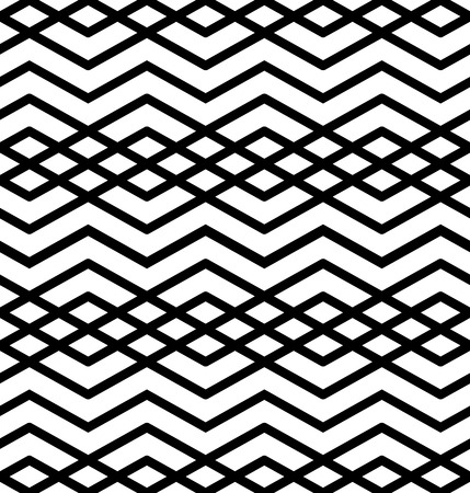 intertwine: Symmetric monochrome textile endless pattern with rhombs, continuous elegant black and white intertwine geometric background. Classic zigzag contrast texture.
