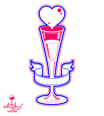 s curve: Classic vector 3d champagne goblet decorated with curve ribbon and heart, Valentine's Day theme illustration. Lifestyle graphic romantic design element.