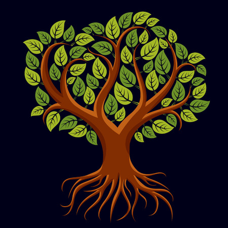 Vector art illustration of branchy tree with strong roots. Tree of life symbolic graphic image, environment conservation theme.