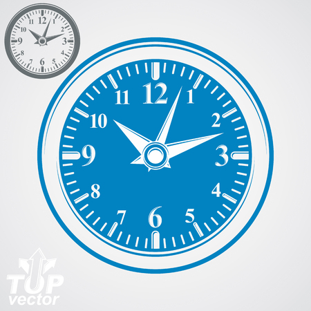 interim: Elegant vector wall clock with stylized clockwise, additional version included. Business time idea eps 8 high quality vector illustration. Time management conceptual symbol. Web design element.