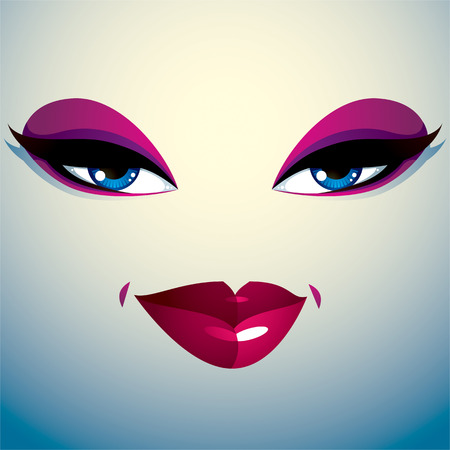 thorny: Coquette woman eyes and lips, stylish makeup. People facial emotions, sly and tricky. Illustration