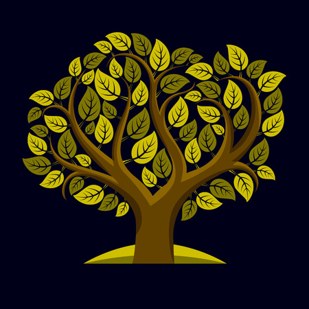 genealogy tree: Vector illustration of tree with decorative leaves and branches in the shape of heart. Beautiful image on ecology theme. Love nature and environment conceptual illustration. Illustration