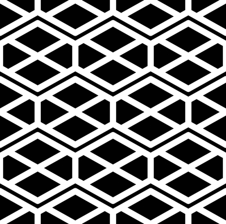 intertwine: Black and white abstract ornament geometric seamless pattern. Symmetric monochrome vector textile backdrop. Intertwine rhombs and hexagons. Illustration