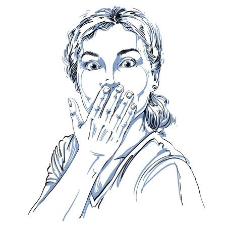 mouth: Monochrome vector hand-drawn image, shocked young woman. Black and white illustration of amazed girl holding her hand close to mouth.