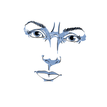 wrinkles: Monochrome hand-drawn portrait of white-skin doubtful woman, face features and emotions theme illustration. Angry lady with wrinkles on her forehead posing on white background. Illustration