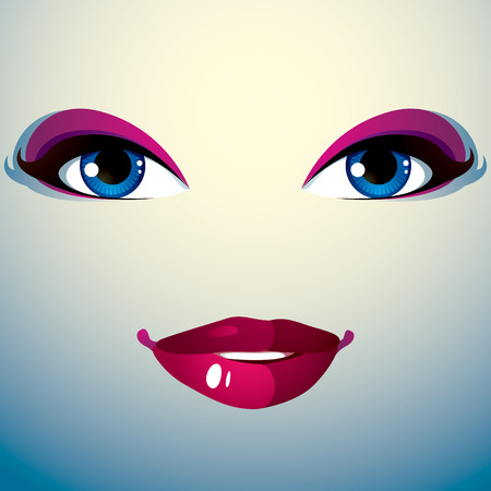 mouth smile: Parts of the face of a young beautiful lady with a bright make-up, lips and eyes. People facial expression, happy smiling woman. Illustration