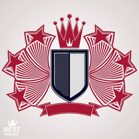 military shield: Empire stylized vector graphic symbol. Shield with 3d flying stars and imperial crown. Clear eps8 coat of arms – security idea. Elegant coronet, web design icon. Illustration