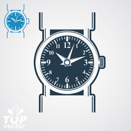 hour hand: Vector classic wristwatch illustration, elegant detailed quartz watch with dial and an hour hand. Retro strap watch, symbolic timepiece. Web business design element – time idea.