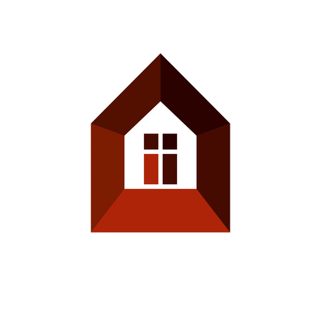 depiction: Real estate simple business icon isolated on white background, abstract house depiction. Property developer vector symbol, conceptual sign best for use in advertising and branding.