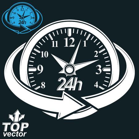 reloj de pared: 3d vector ronda 24 horas reloj con flecha alrededor, incluye la versi�n invertida. Negocios gr�fico temporizador perspectiva. Veinticuatro horas al icono elegante conceptual d�a, aislado en fondo oscuro.