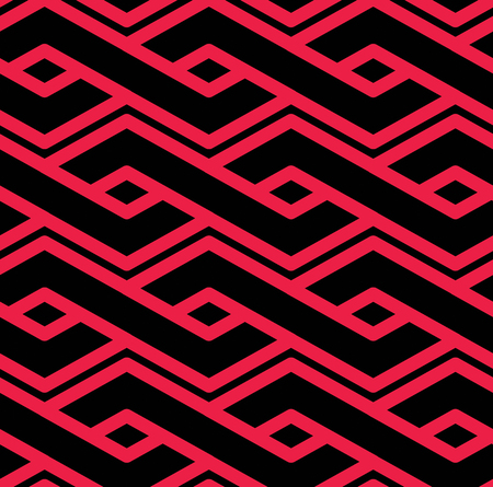 intertwine: Colorful geometric seamless pattern, symmetric endless vector background with intertwine lines. Abstract concept red splicing covering.
