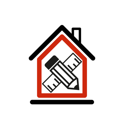 Architectural design conceptual symbol, simple house icon with edit pencil and measuring line. Design construction and engineer vector graphic element. Stock Illustratie