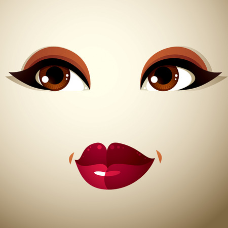 sexy female body: Facial expression of a young pretty woman. Coquette lady visage, human eyes and lips. Illustration