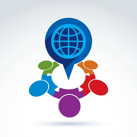 nationalities: Colorful vector illustration of an international meeting. Speech bubble with a planet symbol. People of different nationalities conversation. Illustration