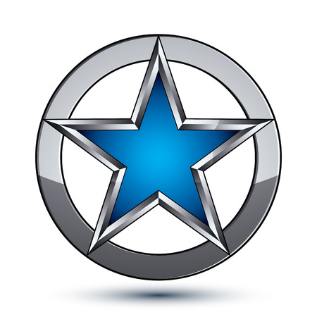 Branded silvery rounded geometric symbol, stylized pentagonal blue star placed in a silver ring, best for use in web and graphic design. Polished vector icon isolated on white background, eps8. Çizim
