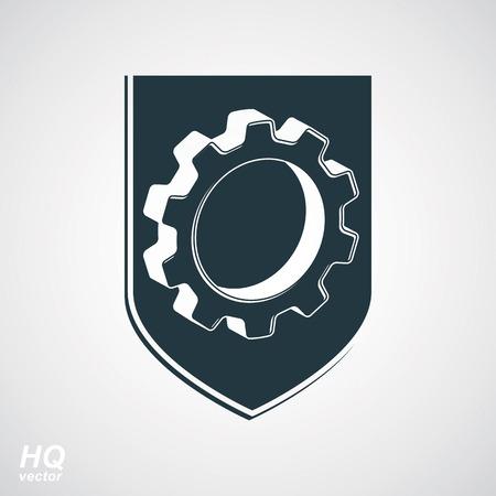wheel guard: High quality 3d graphic gear symbol on a shield, heraldic escutcheon with an engineering design element. Engine component symbol – industrial cog wheel. Defense emblem.