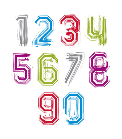 stroked: Hand drawn stroked numerals, collection of unusual watercolor numbers. Illustration