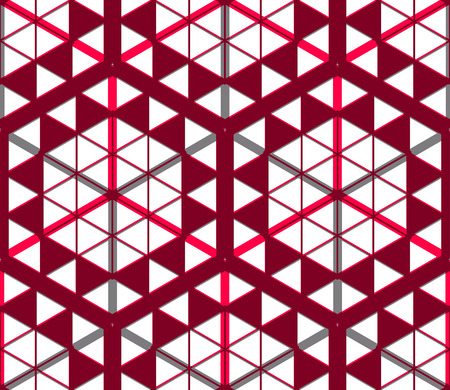 splice: Geometric seamless pattern, endless colorful transparent vector regular background. Abstract covering with 3d superimpose figures, EPS10.