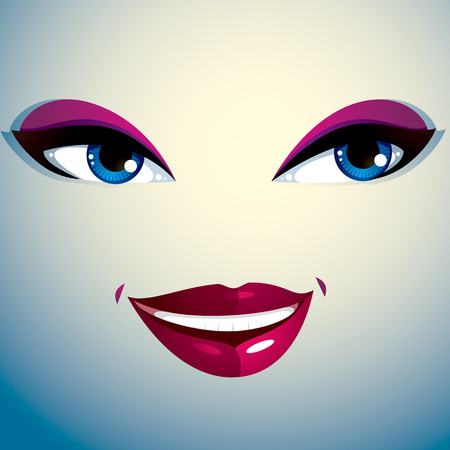 countenance: Parts of the face of a young beautiful lady with a bright make-up, lips and eyes. People facial expression, happy smiling woman. Illustration