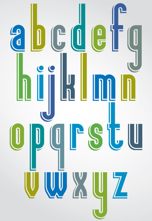 lower case: Colorful animated font, comic lower case letters with white outline. Illustration