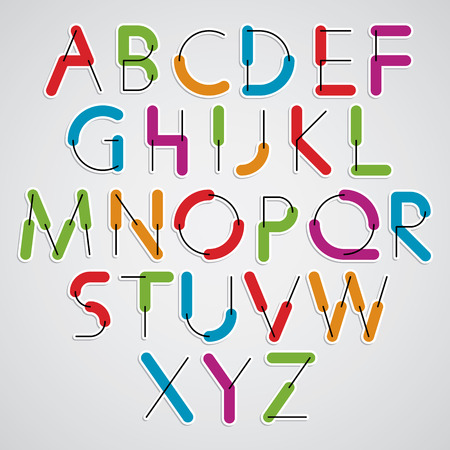 constructive: Funny constructive vector colorful font, cartoon rounded letters.