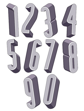 math set: 3d tall condensed numbers set, monochrome numerals for advertising and web design.