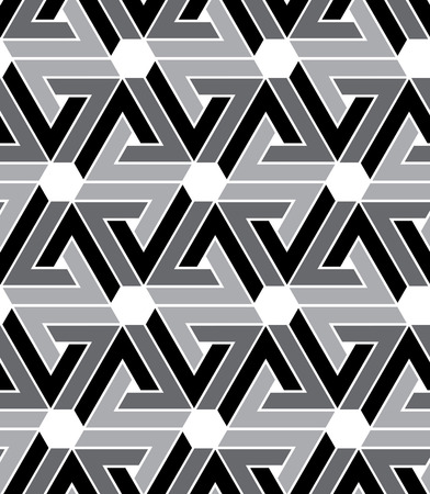 Black and white geometric zigzag seamless pattern, endless ethnic vector background. Grayscale abstract wrapper with hexagons. Illustration